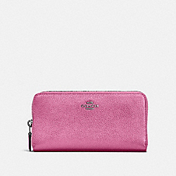ACCORDION ZIP WALLET - DARK GUNMETAL/METALLIC BLUSH - COACH 23554