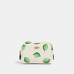 MINI BOXY COSMETIC CASE WITH LIME PRINT - IM/CHALK GREEN MULTI - COACH 2355