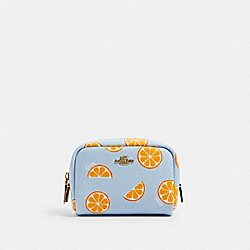 MINI BOXY COSMETIC CASE WITH ORANGE PRINT - IM/ORANGE/BLUE - COACH 2356
