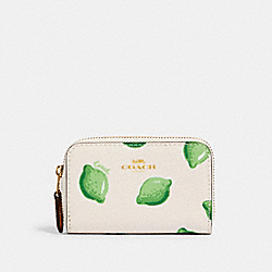 ZIP AROUND COIN CASE WITH LIME PRINT - IM/CHALK GREEN MULTI - COACH 2359