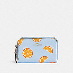 ZIP AROUND COIN CASE WITH ORANGE PRINT - IM/ORANGE/BLUE - COACH 2360