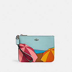 GALLERY POUCH WITH UMBRELLA MOTIF - SV/AQUA MULTI - COACH 2367