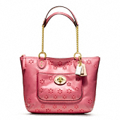 Poppy Eyelet Leather Small Chain Tote