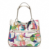 POPPY STAMPED C EAST/WEST CHAIN TOTE