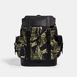 HUDSON BACKPACK WITH BANANA LEAVES PRINT - QB/NAVY GREEN - COACH 2387