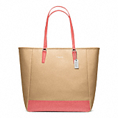 SAFFIANO COLORBLOCK NORTH/SOUTH CITY TOTE