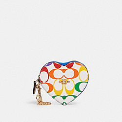 HEART COIN CASE IN RAINBOW SIGNATURE CANVAS - IM/CHALK MULTI - COACH 2399