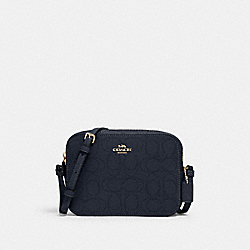 MINI CAMERA BAG IN SIGNATURE LEATHER - IM/MIDNIGHT - COACH 2403