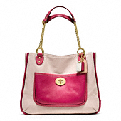 POPPY LEATHER COLORBLOCK MEDIUM CHAIN TOTE