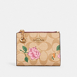 SNAP CARD CASE IN SIGNATURE CANVAS WITH PRAIRIE ROSE PRINT - IM/KHAKI MULTI - COACH 2413