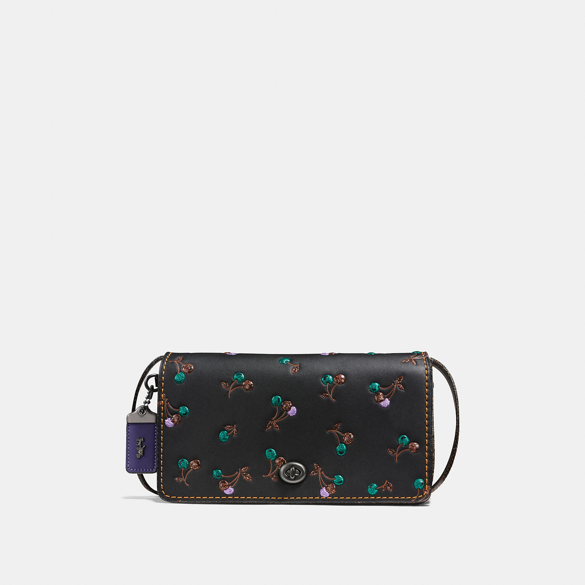 Coach Dinky In Glovetanned Leather With Cherry Print