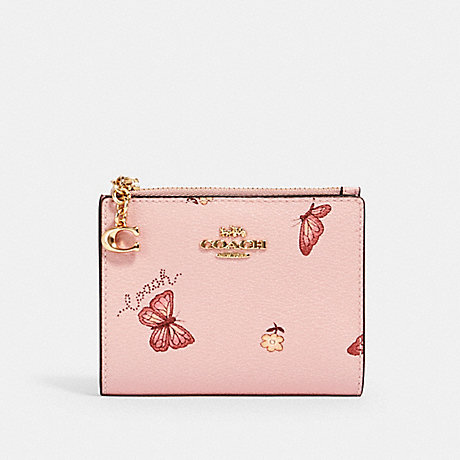COACH SNAP CARD CASE WITH BUTTERFLY PRINT - IM/BLOSSOM/ PINK MULTI - 2414