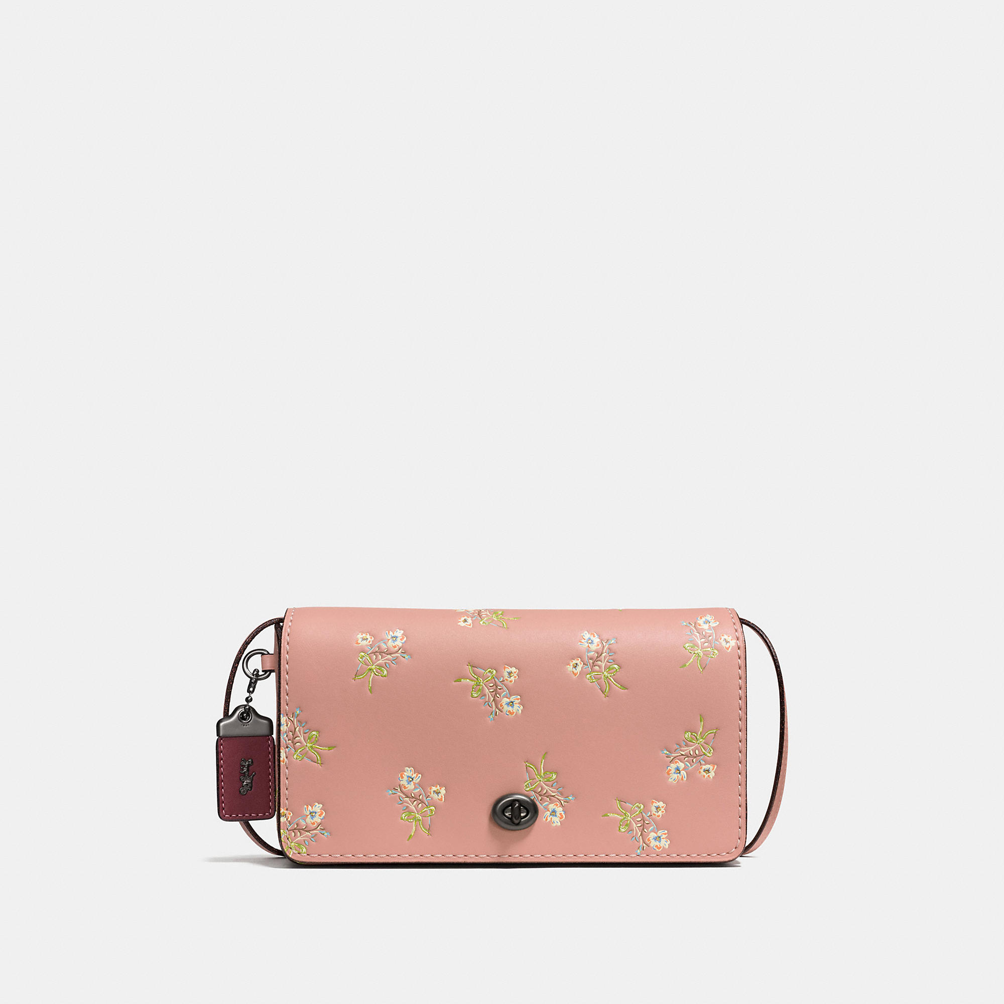 Coach Dinky In Glovetanned Leather With Floral Bow Print