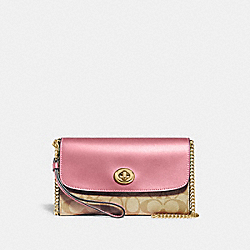 CHAIN CROSSBODY IN SIGNATURE CANVAS - IM/LIGHT KHAKI ROSE - COACH 24280