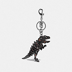 SMALL PRINTED REXY BAG CHARM - BK/BLACK - COACH 24513