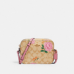 MINI CAMERA BAG IN SIGNATURE CANVAS WITH PRAIRIE ROSE PRINT - IM/KHAKI MULTI - COACH 2465