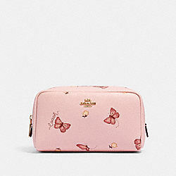 SMALL BOXY COSMETIC CASE WITH BUTTERFLY PRINT - IM/BLOSSOM/ PINK MULTI - COACH 2470