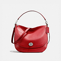 TURNLOCK HOBO - SILVER/TRUE RED - COACH 24771