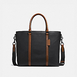 HARNESS METROPOLITAN TOTE - BLACK/DARK SADDLE/BLACK - COACH 24773