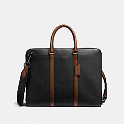 HARNESS METROPOLITAN SLIM BRIEF - BK/BLACK DARK SADDLE - COACH 24777
