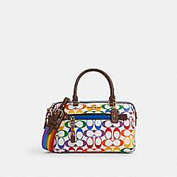 ROWAN SATCHEL IN RAINBOW SIGNATURE CANVAS - IM/CHALK MULTI - COACH 2488