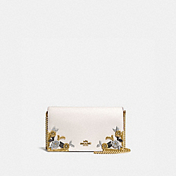 CALLIE FOLDOVER CHAIN CLUTCH WITH METAL TEA ROSE - OL/CHALK - COACH 24909