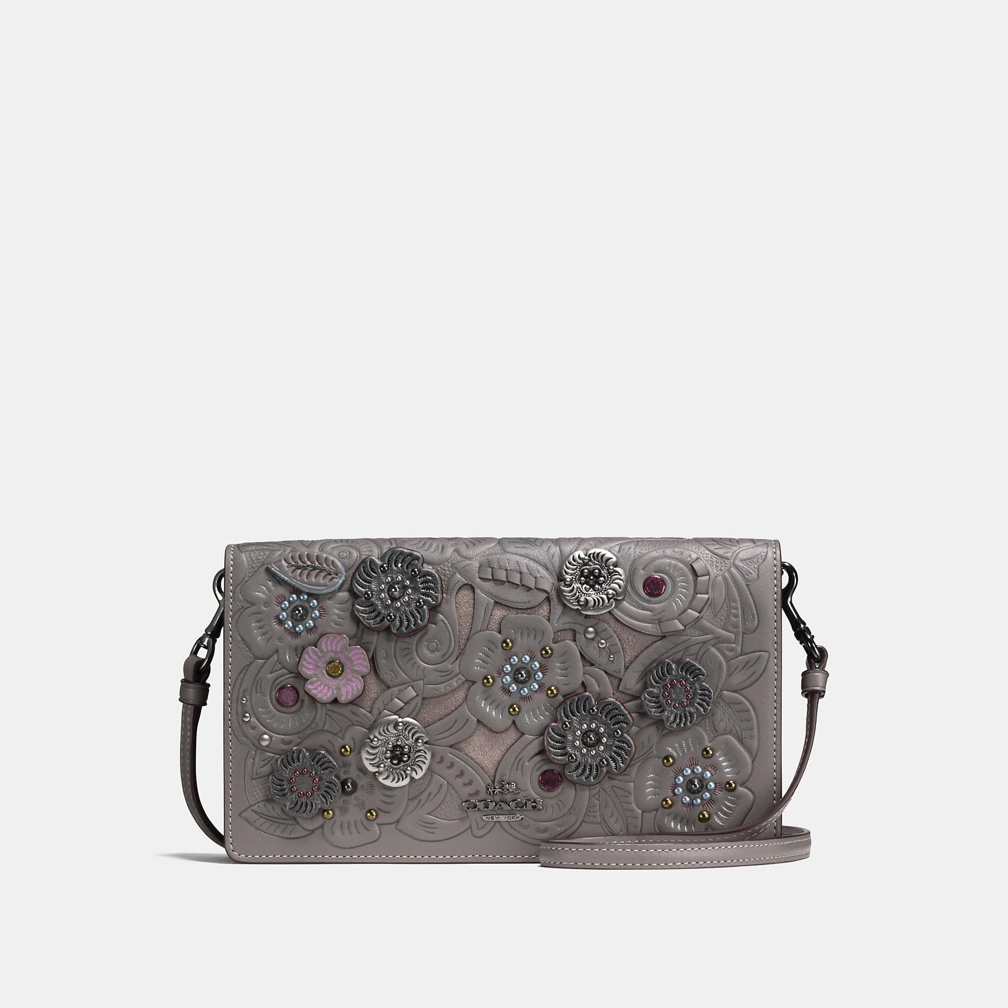 Coach Foldover Crossbody Clutch With Metal Tea Rose Tooling