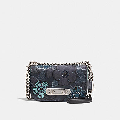 COACH SWAGGER SHOULDER BAG 20 WITH PATCHWORK TEA ROSE AND SNAKESKIN DETAIL
