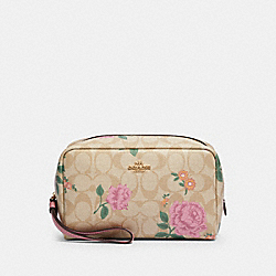 BOXY COSMETIC CASE IN SIGNATURE CANVAS WITH PRAIRIE ROSE PRINT - IM/KHAKI MULTI - COACH 2496