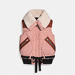 PUFFER VEST WITH SHEARLING - DUSTY PINK - COACH 25000