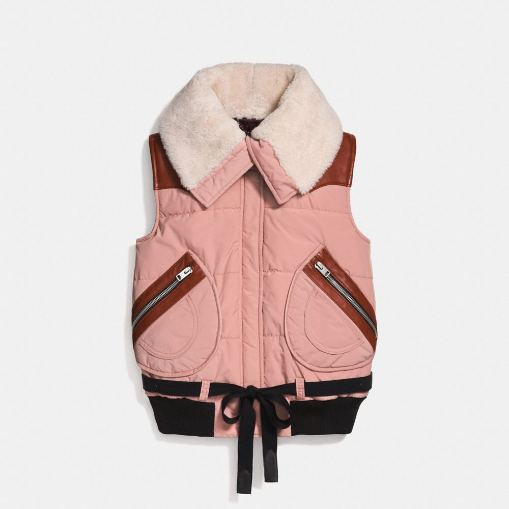 COACH PUFFER VEST WITH SHEARLING - WOMEN'S