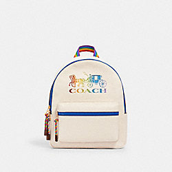 MEDIUM CHARLIE BACKPACK WITH RAINBOW HORSE AND CARRIAGE - IM/CHALK MULTI - COACH 2500