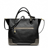 POPPY COLORBLOCK LEATHER BLAIRE TOTE
