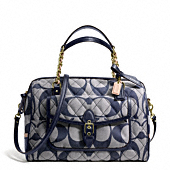 POPPY QUILTED SIGNATURE C DENIM EAST/WEST POCKET SATCHEL