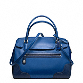 POPPY COLORBLOCK LEATHER FLAP SATCHEL