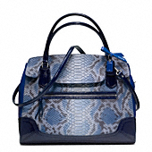 POPPY EMBOSSED PYTHON LARGE FLAP SATCHEL
