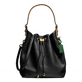 SOFT LEGACY DRAWSTRING SHOULDER BAG IN PEBBLED LEATHER