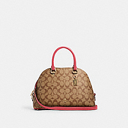 KATY SATCHEL IN SIGNATURE CANVAS - IM/KHAKI/FUCHSIA - COACH 2558