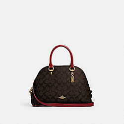 KATY SATCHEL IN SIGNATURE CANVAS - IM/BROWN 1941 RED - COACH 2558