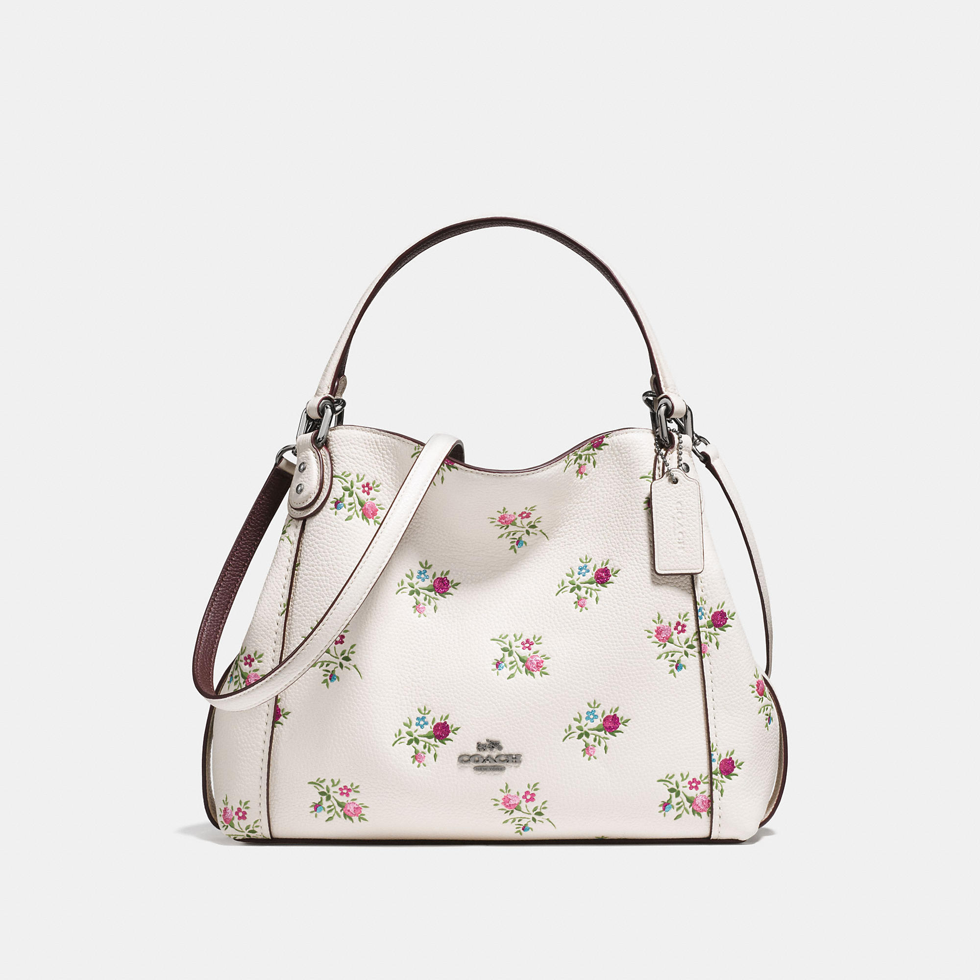 Coach Edie Shoulder Bag 28 With Cross Stitch Floral Print