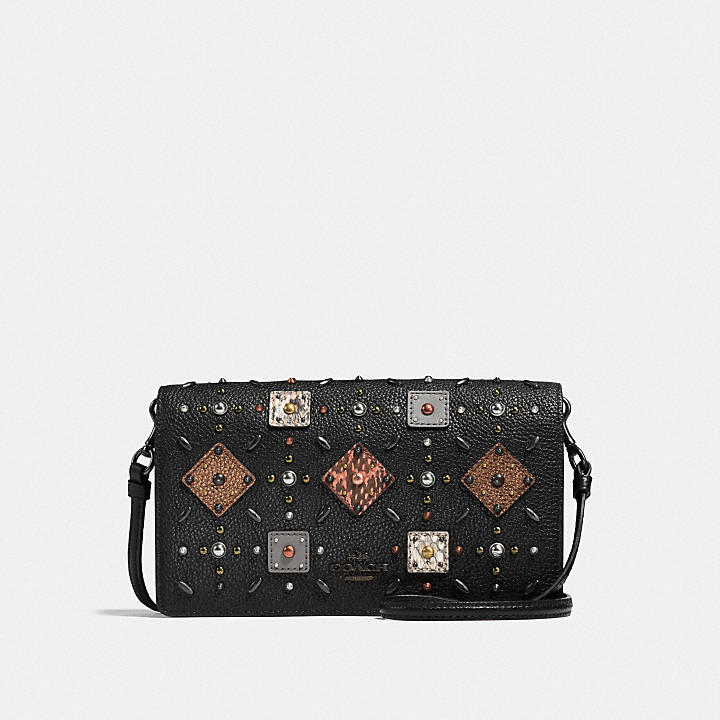 Coach Crossbody Clutch With Prairie Rivets And Snakeskin Detail Coach Ipt5t