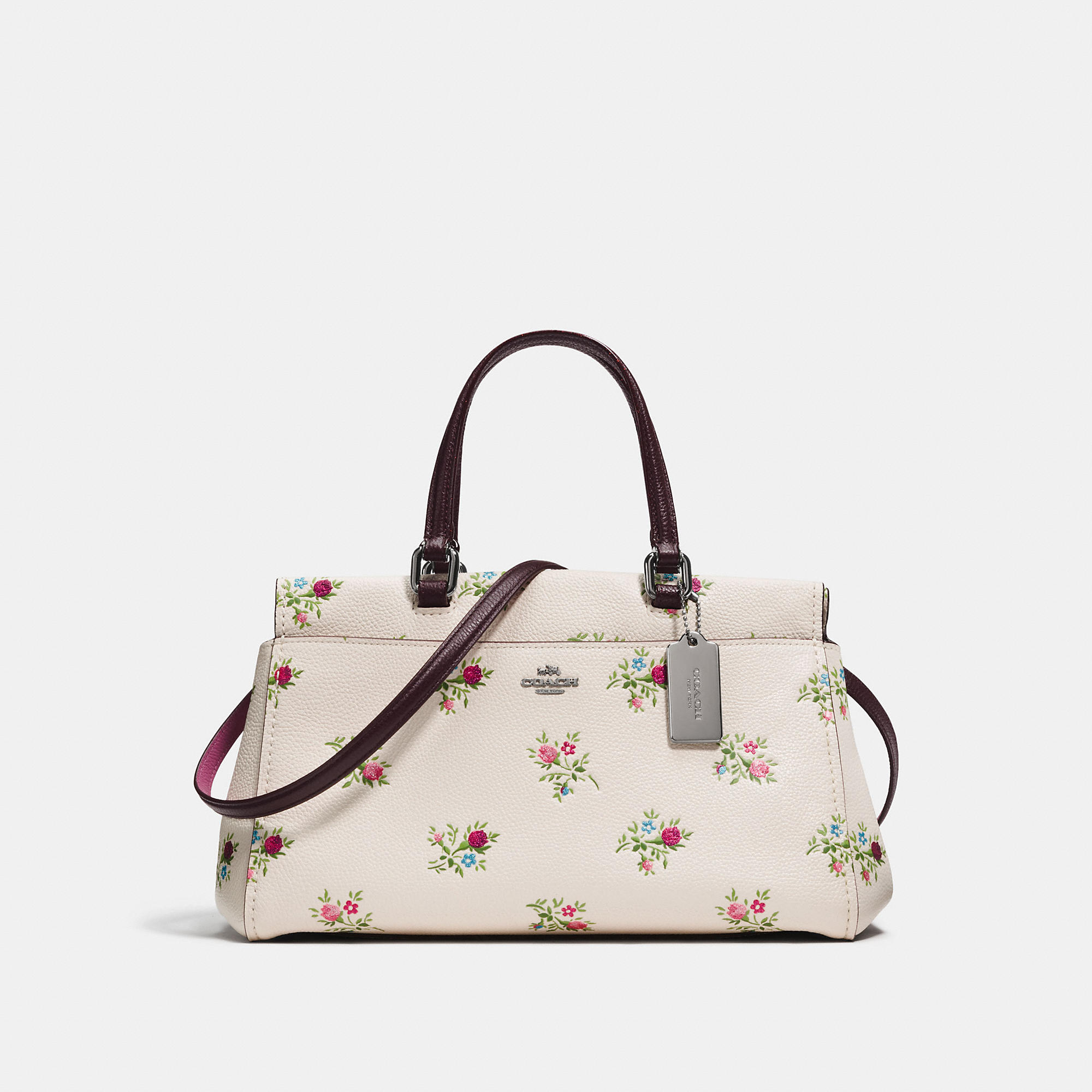 Coach Fulton Satchel With Cross Stitch Floral Print