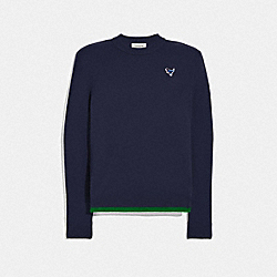 CREWNECK SWEATER WITH REXY PATCH - NAVY - COACH 25760