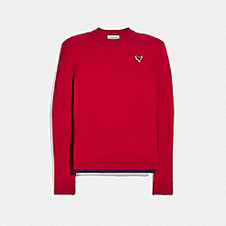 CREWNECK SWEATER WITH REXY PATCH - RED - COACH 25760