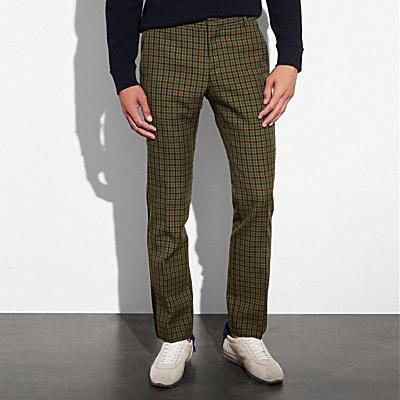 格紋直筒長褲