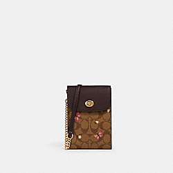 RACHEL PHONE CROSSBODY IN SIGNATURE CANVAS WITH BUTTERFLY PRINT - IM/KHAKI PINK MULTI - COACH 2616