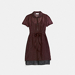 STAR PRINT SHIRT DRESS - BURGUNDY - COACH 26233