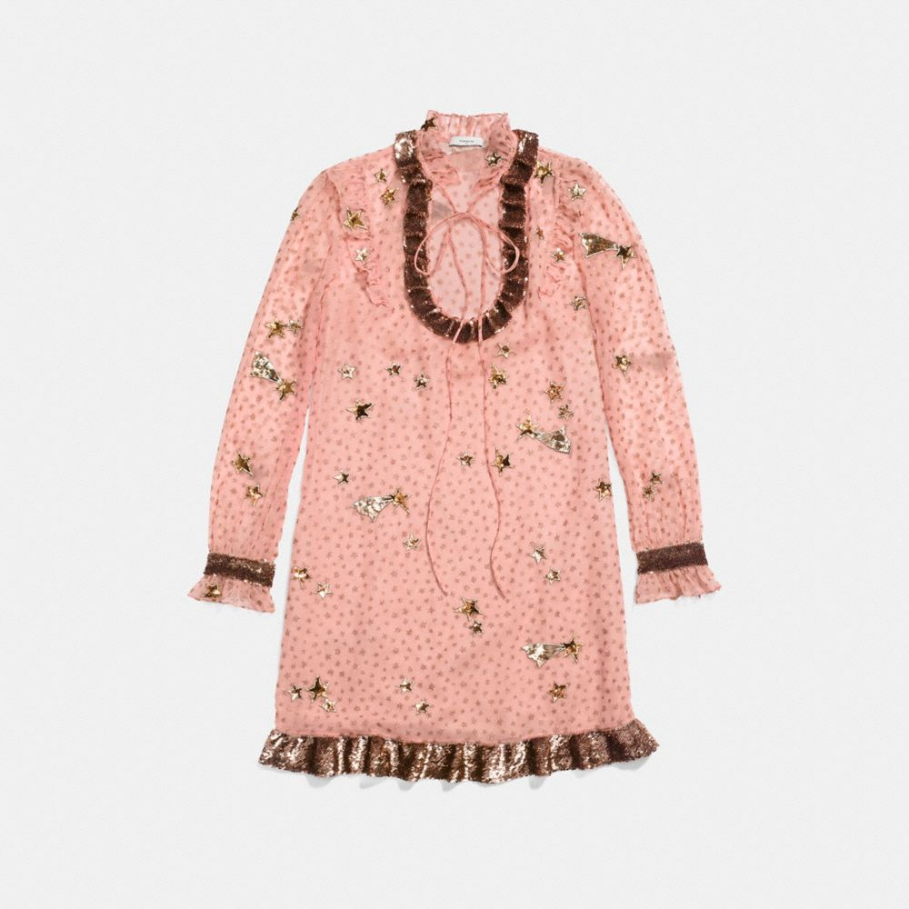 Coach Embellished Outerspace Print Dress