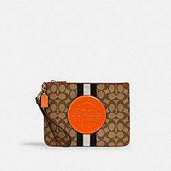 DEMPSEY GALLERY POUCH IN SIGNATURE JACQUARD WITH STRIPE AND COACH PATCH - IM/KHAKI SUNBEAM MULTI - COACH 2633