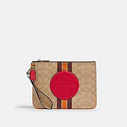 DEMPSEY GALLERY POUCH IN SIGNATURE JACQUARD WITH STRIPE AND COACH PATCH - IM/LT KHAKI ELECTRIC PINK - COACH 2633